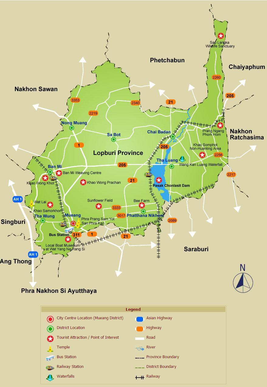 Lopburi Thailand Map.Lopburi Maps