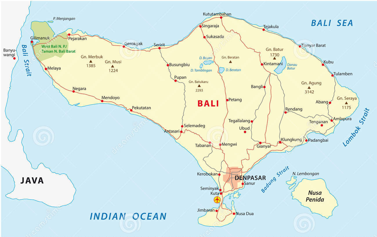 Cartina Bali Indonesia.Bali Maps