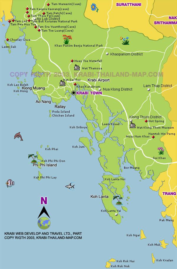 detailed map of krabi thailand - 600×912